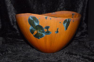 saladier porcelaine design marron cristaux bleus