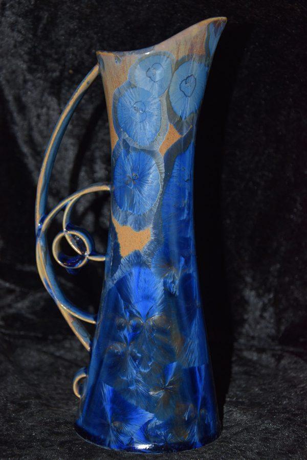 carafe en porcelaine élancée cristaux bleus