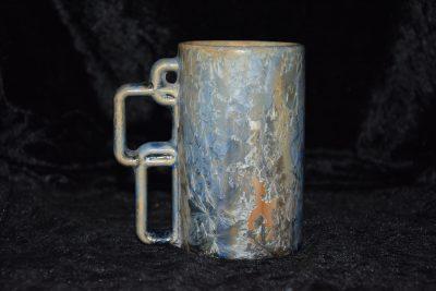 tasse en grès gris bleu anse carrée
