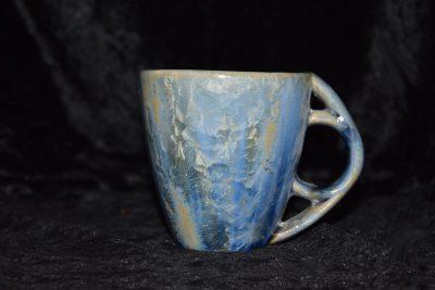 tasse en grès anse ronde-gris bleu
