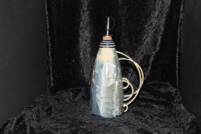 Huilier en porcelaine artisanal gris-bleu