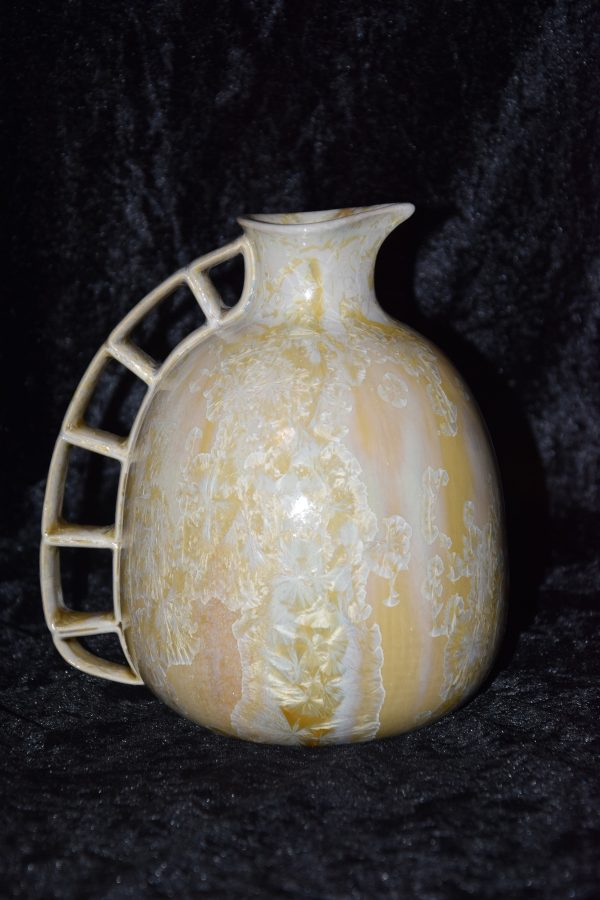 carafe en grès jaune aux cristaux blanc - Atelier de la Volane