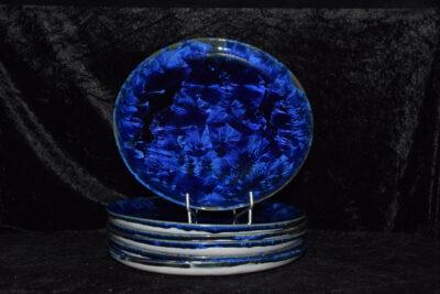 Jeu de 6 assiettes en porcelaine bleu-nuit