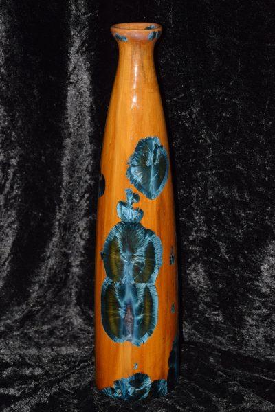 moyen vase porcelaine orange cristaux bleu métallique