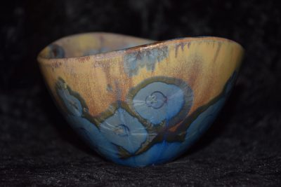 bol porcelaine design bleu mauve