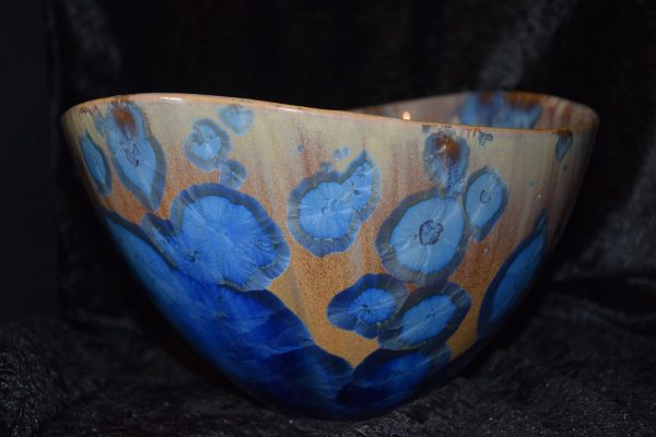 moyen saladier courbure bleu marron mauve porcelaine