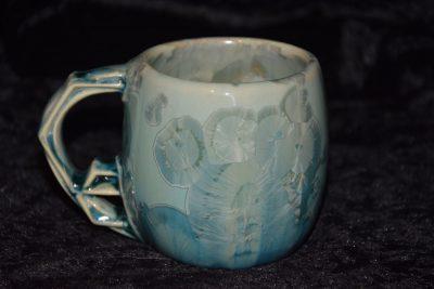 tasse porcelaine turquoise anse impressioniste