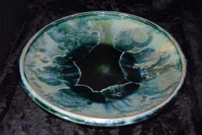 coupe à fruits en porcelaine vert turquoise