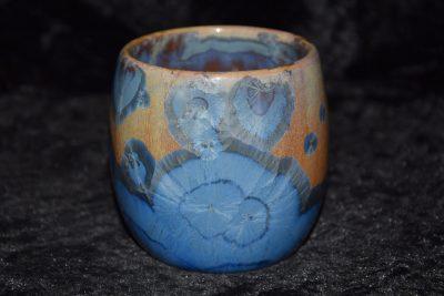 tasse porcelaine sans anse bleu marron mauve