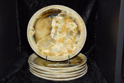 lot de 6 assiettes artisanales en porcelaine jaune-soleil