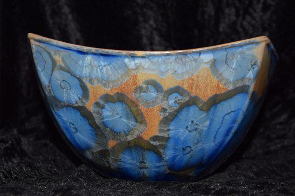 saladier carré en porcelaine bleu-marron-mauve