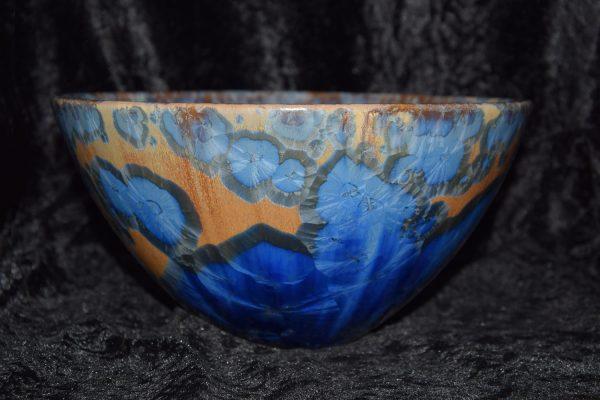 saladier forme japonaise porcelaine bleu-marron-mauve