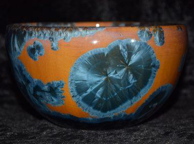 grand bol porcelaine marron cristaux bleus