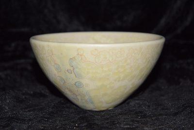 bol style japonais émail blanc mat cristaux jaune paille