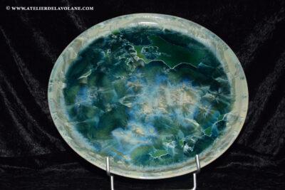 plat à gâteau en porcelaine vert émeraude diamètre 32cm