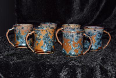 lot de 6 tasses à café expresso en grès marron mauve cristaux bleus