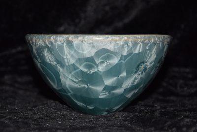 Bol poterie artisanale porcelaine 13 cm diamètre gris bleu métallique