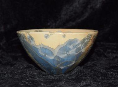 Céramique artisanale bol porcelaine ocre gris-bleu