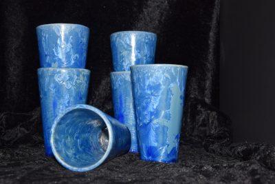 Jeu de 6 mazagrans en grès bleus - céramique artisanale