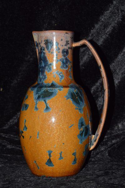 Carafe 1l en grès marron-bleu