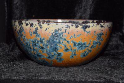 Saladier poterie artisanale marron bleu