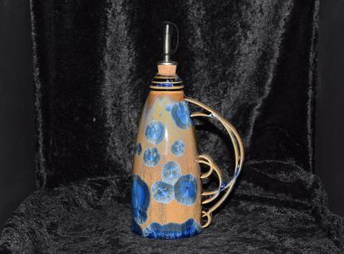 Huilier céramique artisanale marron-bleu