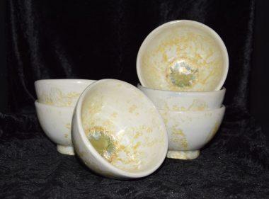 Bolées artisanales grès blanc or