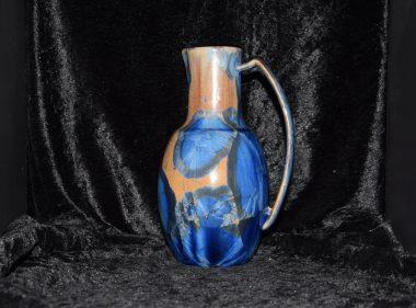 Carafe 1 litre porcelaine bleu-marron-mauve