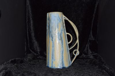 Carafe bleu beige mat grès