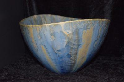 Grand saladier design porcelaine-gris-bleu