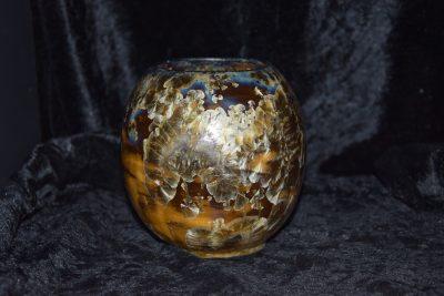 Vase boule grès noir cristaux blancs