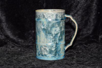 Mug artisanal en porcelaine gris-vert métallique 25cl