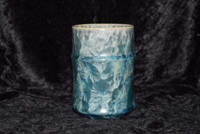 Tasse sans anse en porcelaine gris-vert métallisé