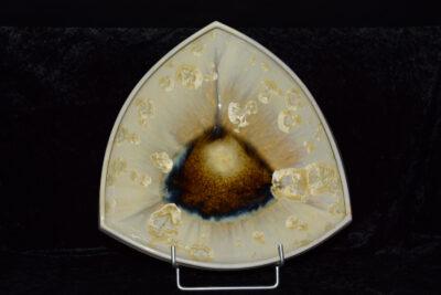 Coupe à fruits triangulaire en porcelaine crème cristaux jaunes