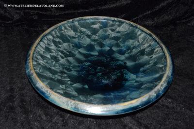 Coupe à fruits en porcelaine gris vert métallisé