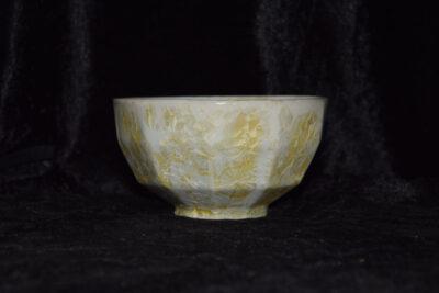 Bol à facettes en grès blancs cristaux jaunes