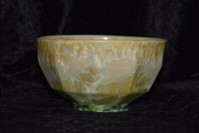 Bol à facettes en porcelaine vert citron