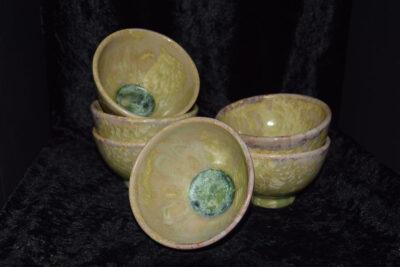 Bolées artisanales grès vert citron