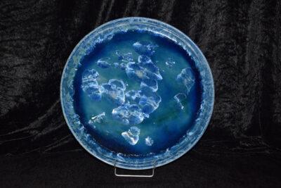Plat à gâteau en grès artisanal 36cm bleu