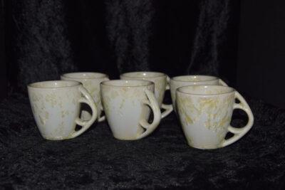 Tasse à café Expresso - Espresso en grès - lot de 6 - blanc-jaune